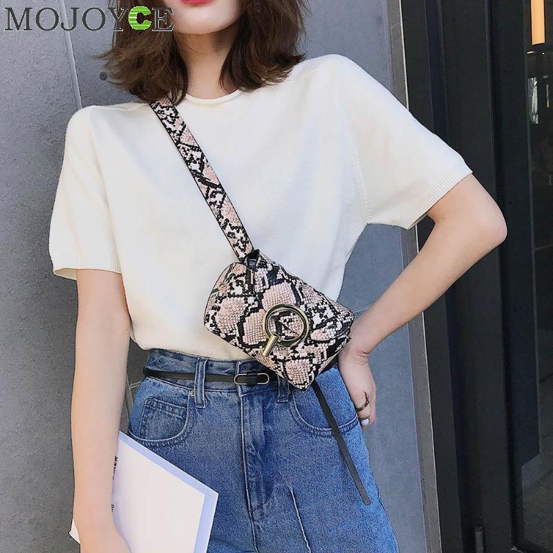 New Fashion Snake Pattern Leather Belt Bags Phone Pouch Women PU Leather Waist Bags Female Fanny Packs Bolsa Feminina