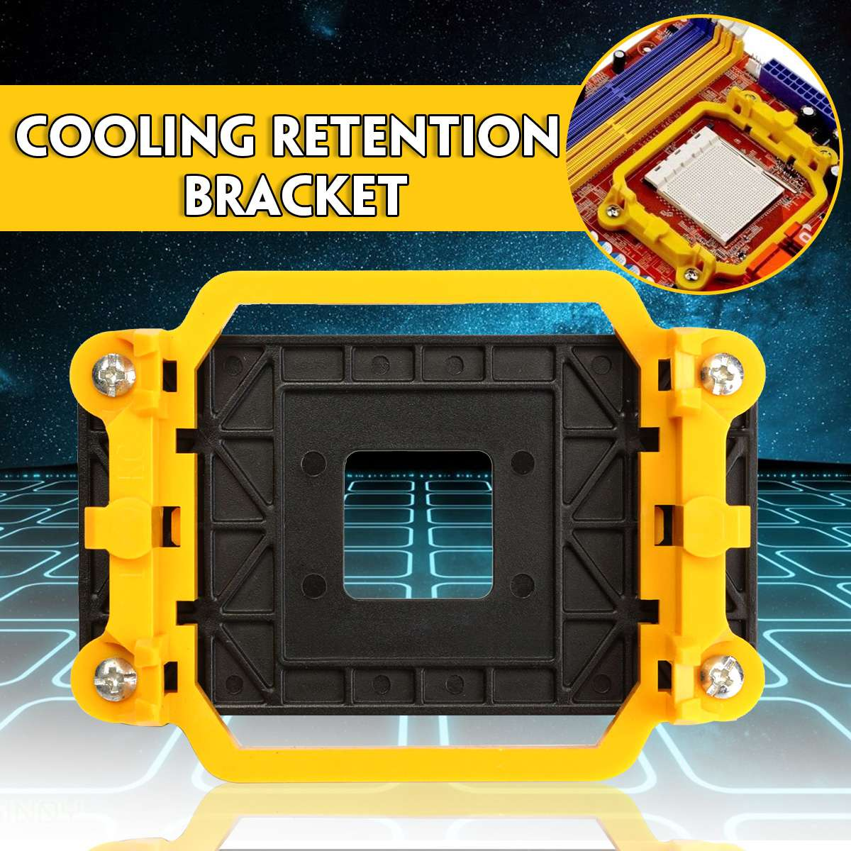 Plastic CPU Cooler Cooling Retention Fan Bracket Mount For AMD Socket AM3 AM3+ AM2 AM2+ 940 CPU's Motherboards 11x8cm Light image