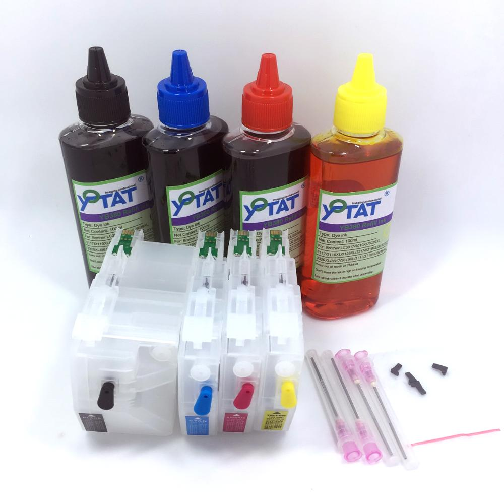 YOTAT 4 100ml Dye ink Refillable ink cartridge LC3619 LC3617 for Brother MFC J2330DW MFC J2730DW