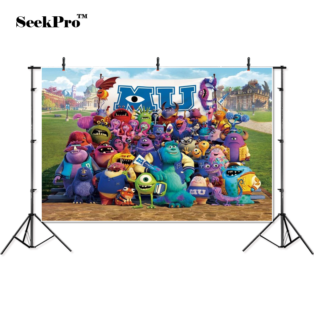 thin vinyl Monsters Inc Sulley Mike children Banner photo Background Printed Professional Indoor Photographic studio Backdrop image
