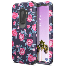 3 in 1 Hard Case For Samsung Galaxy S9 plus Cover Flowers For Bumper PC Silicone Shockproof Cover For Samsung Note 8 9 Case