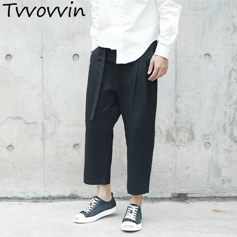 2019 New Spring High Elastic Waist Black Sashes Loose Long   Wide     Leg     Pants   Women Fashion Tide All-match E022