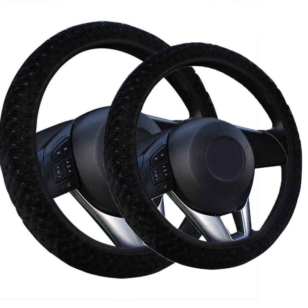 Oft الدافئة أفخم يغطي سيارة غطاء عجلة القيادة سيارة التصميم اللؤلؤ المخملية السيارات الديكور الشتاء