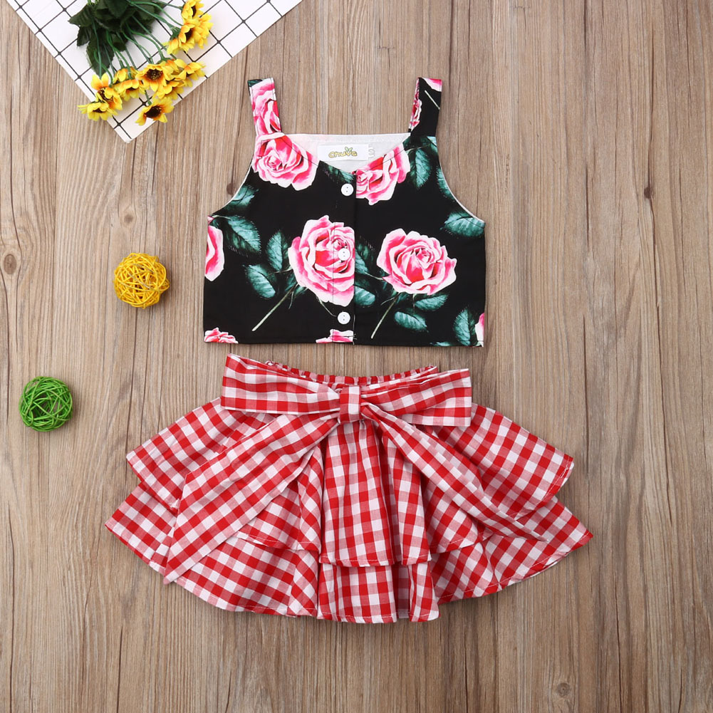 >Pudcoco New Brand <font><b>2Pcs</b></font> <font><b>Toddler</b></font> <font><b>Kid</b></font> Baby Girl Rose Vest Tops Plaid Bowknot Skirt Outfits Clothes