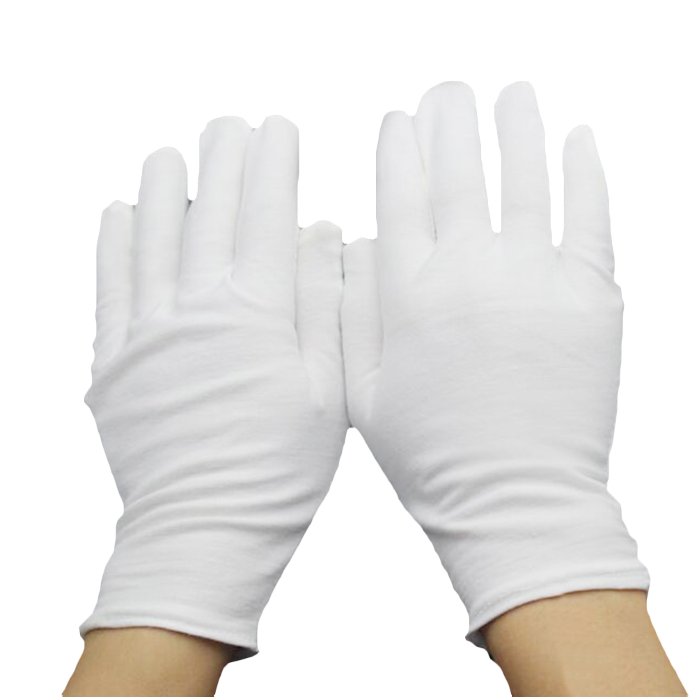 2019 Men Women White Cotton Etiquette Gloves Sweatproof Waiters/Drivers/Jewelry/Workers Mittens Quality Full Finger Touch Gloves