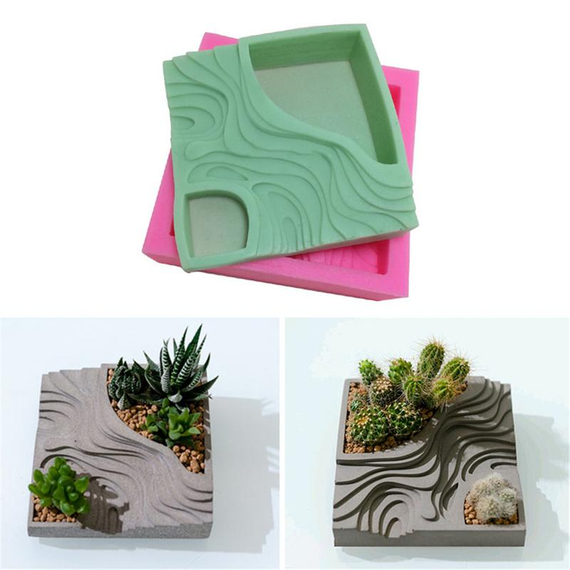 Terraced Field Shape Succulent Plant Flower Pot Silicone Mold Gypsum Cement Fleshy Flower Bonsai DIY Ashtray Candle Holder Mould