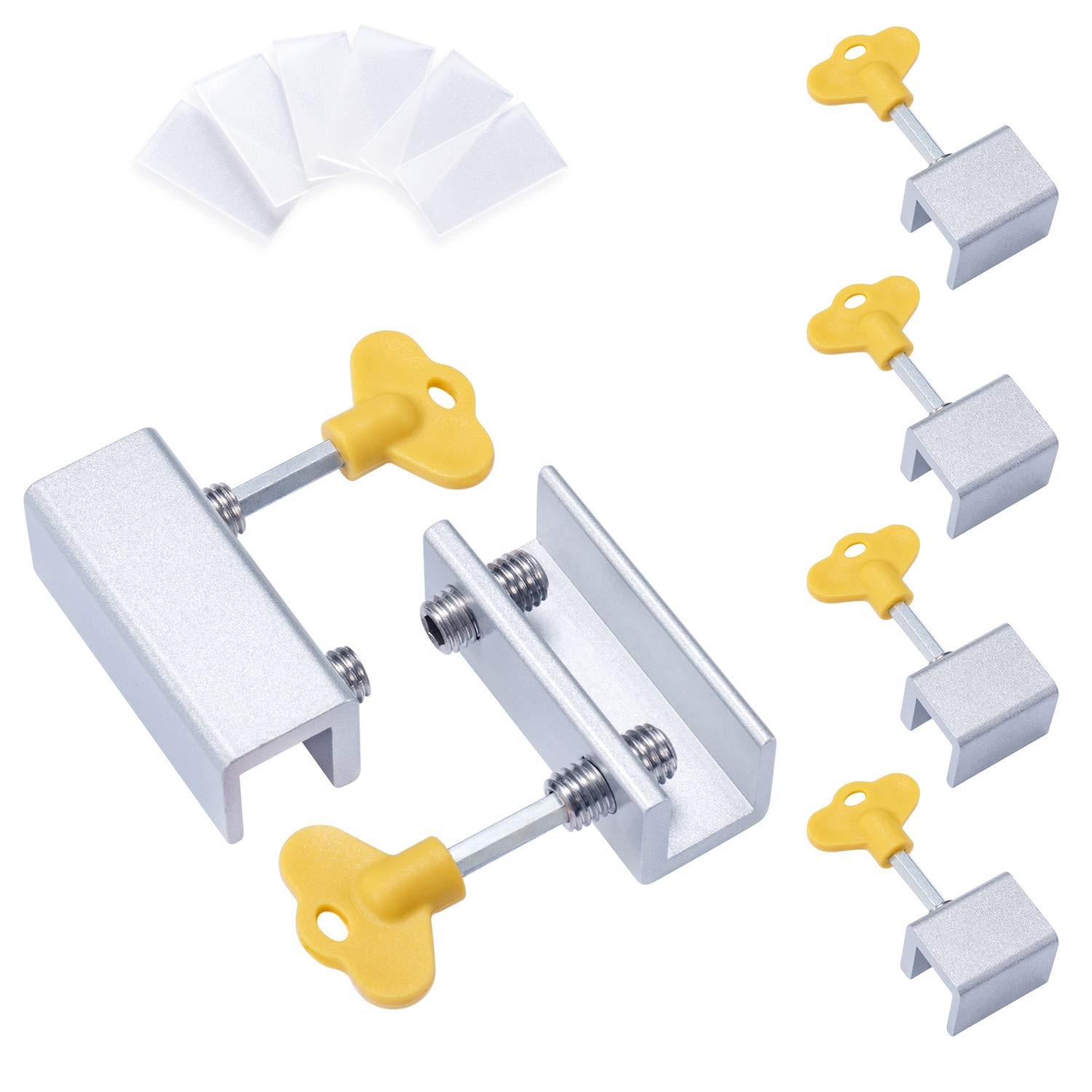 6 Pieces Adjustable Sliding Window Locks Stops Aluminum Alloy Door Frame Security Lock With Keys (4Single Hole And 2Double Hole)6 Pieces Adjustable Sliding Window Locks Stops Aluminum Alloy Door Frame Security Lock With Keys (4Single Hole And 2Double Hole)