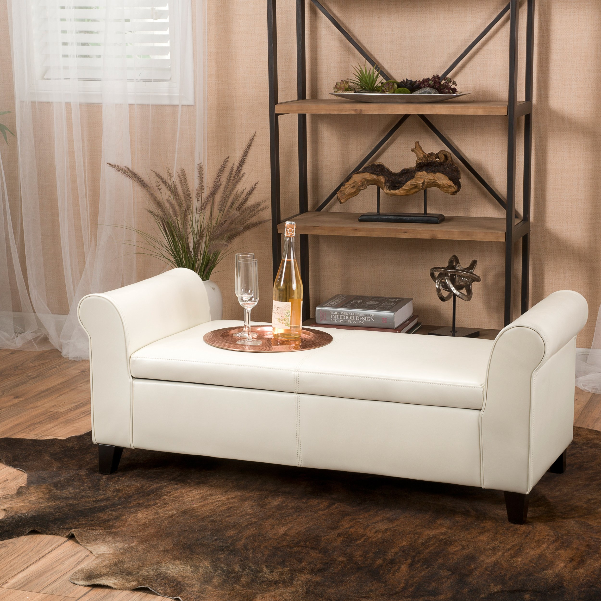 Amazing Danbury Off White Leather Armed Storage Ottoman Bench In Cjindustries Chair Design For Home Cjindustriesco