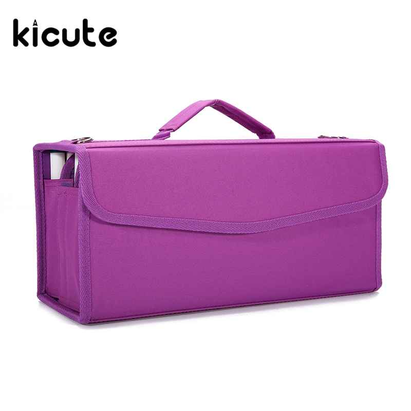 Kicute 1 pièces Grande Capacité Vert/Violet/Noir Crayons Peinture Sac marqueur Sacs pour 120 pièces Crayon Stylos fournitures Scolaires de bureau