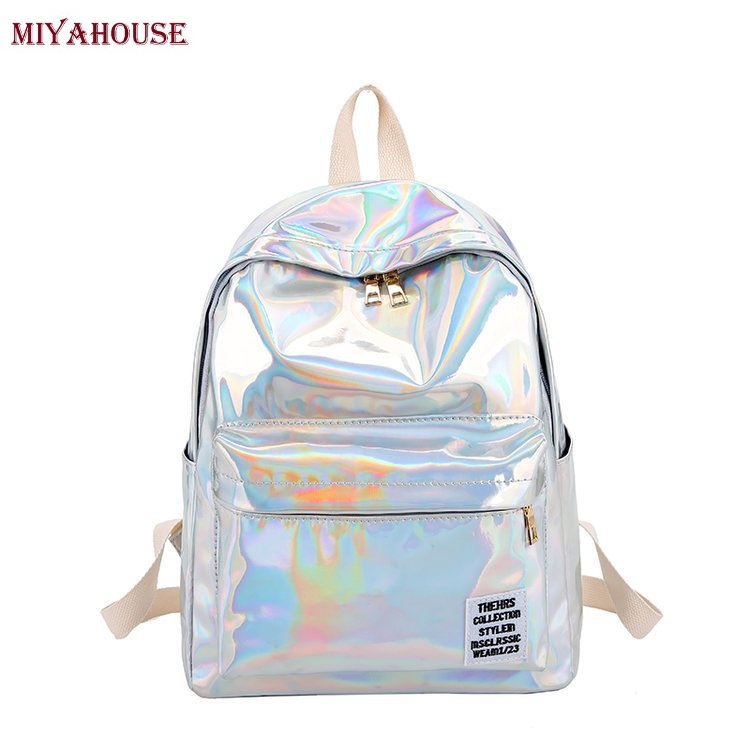 Miyahouse Laser Glossy Backpack Female Casual Softback Girls School Bag Large Capacity Rucksack Women Double Zipper Travel Bag