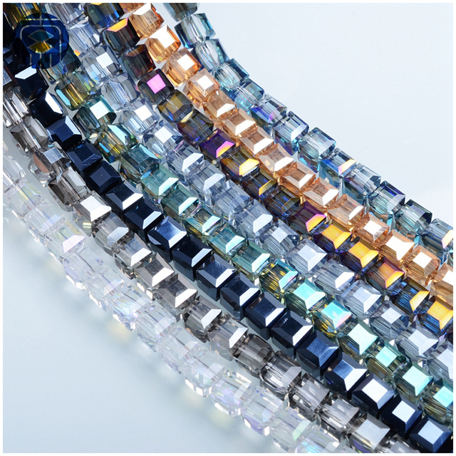 JuleeCrystal Cube Beads 2/3/4/6/8/10/12/14mm All Size Available Crystal Square Glass Beads For Jewelry Making