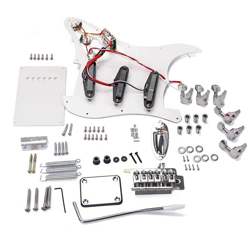 DIY Electric Guitar Kit ST Full Accessories Guitar Building Kit Set with Back Cover Bridge System