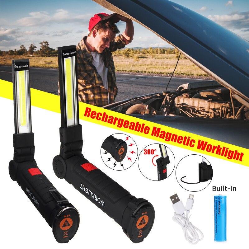 Tragbare COB LED Arbeit Licht USB Aufladbare Taschenlampe Magnetische COB Lanterna Taschenlampe Hängen Haken Lampe Eingebaute 18650 Batterie
