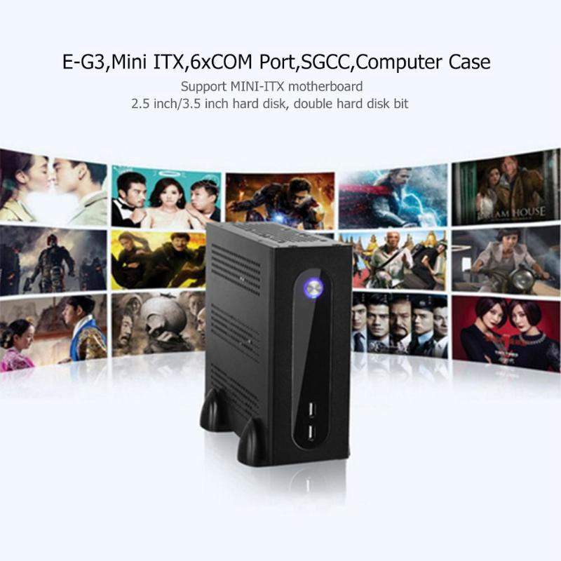E-G3 PC Case Mini ITX Server Tower 6xCOM Port Embedded SGCC Computer Case PC Chassis For Universal Motherboard