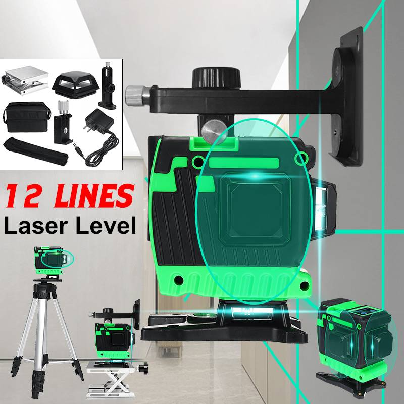 12 Green Lines Laser Level+Tripod+Bag 505nm 3D 360 Degree Rotation Auto Leveling Horizontal Vertical Laser Beam for Wall Floor12 Green Lines Laser Level+Tripod+Bag 505nm 3D 360 Degree Rotation Auto Leveling Horizontal Vertical Laser Beam for Wall Floor