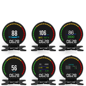 Image 4 - P15 Hd Tft Obd Digitale Snelheid Hud Display Snelheidsmeter OBD2 Turbo Boost Druk Meter Alarm Olie Water Temp Gauge Code reader