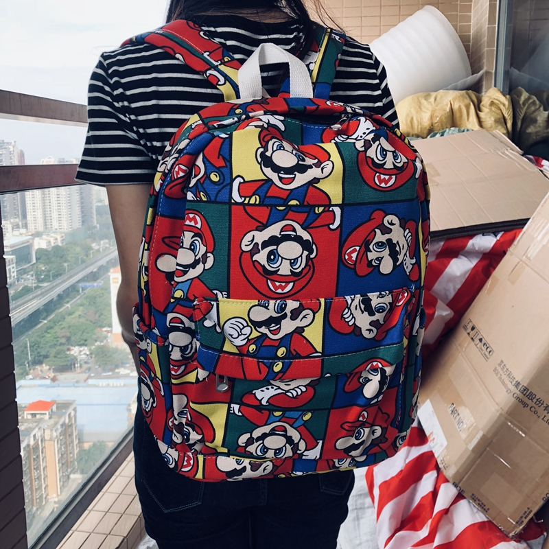 IVYYE Super Mario Bros Fashion Canvas Backpacks Rucksacks Cartoon School Backpack Casual Student Bags Travel Knapsack Unisex New