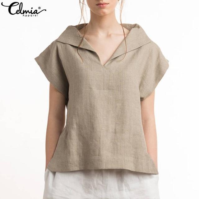 0e157a741e7 Plus Size 2019 Celmia Women Vintage Cotton Linen Blouses Lapel V-neck Short  Sleeve Summer Shirts Casual Blusas Loose Tunic Tops