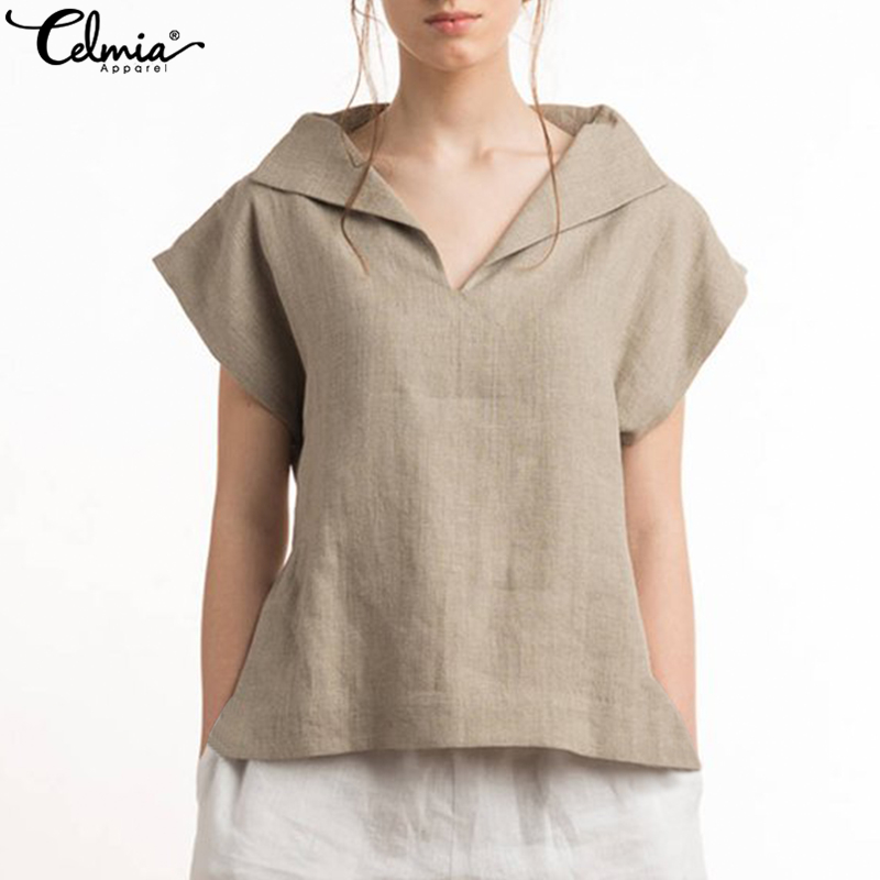 Plus Size 2020 Celmia Women Vintage Cotton Linen Blouses Lapel V-neck Short Sleeve Summer Shirts Casual Blusas Loose Tunic Tops