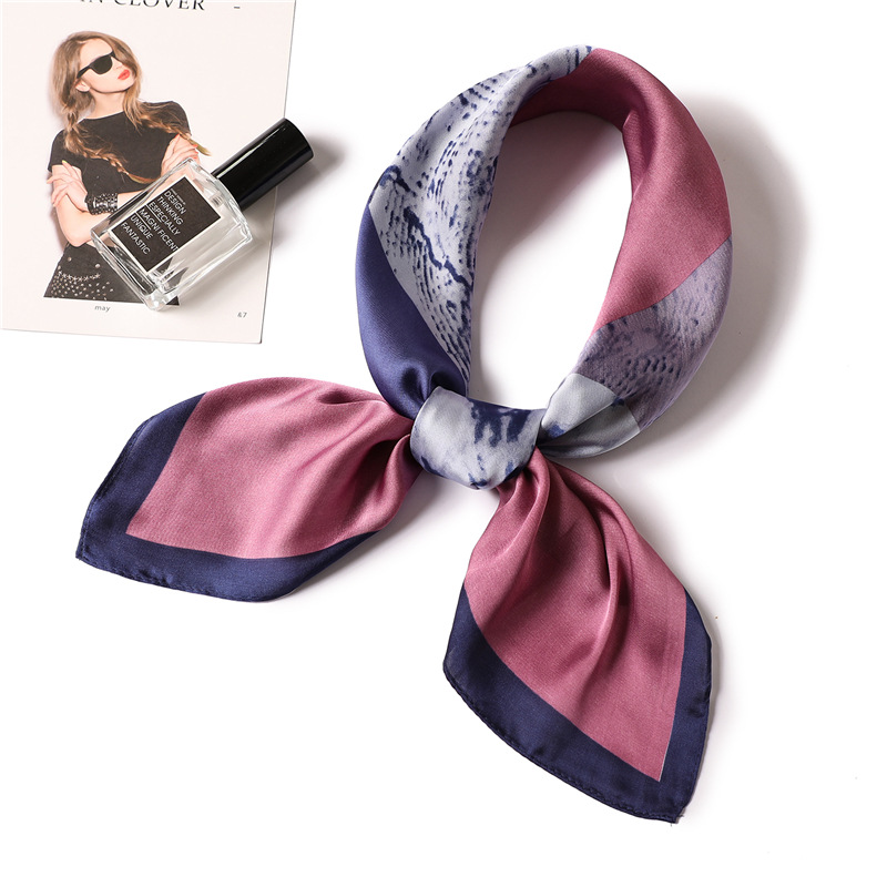 Ruicesstai 70*70cm Silk Scarf Square Women 2019 New Spring Summer Neckerchief Fashion Geometric Foulard Bandana Head Scarfs