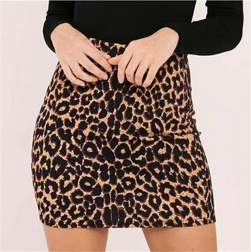 Women Leopard Skirts Cheap Bodycon Pencil Short Mini Skirt Sexy Vintage Fashion High Waist Summer Female Club Stylish Clothing