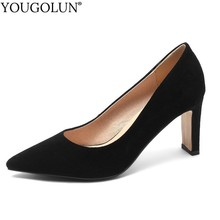 Women Suede Elegant Pointed toe High Heels Zapatos Dama Sexy Ladies Square Heel Black Pumps Fashion Party Shoes Plus Size A107 недорого