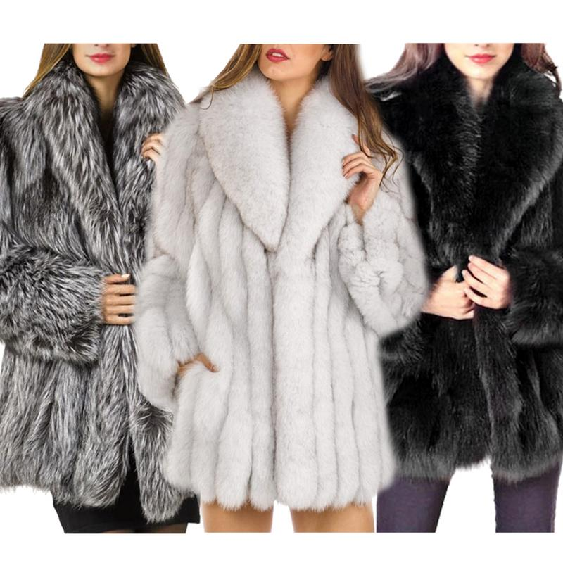 Autumn And Winter Faux Fur Coat Women Fashion Temperament Keep Warm Coat Long Sleeve Long Section Fox Fur Faux Fur