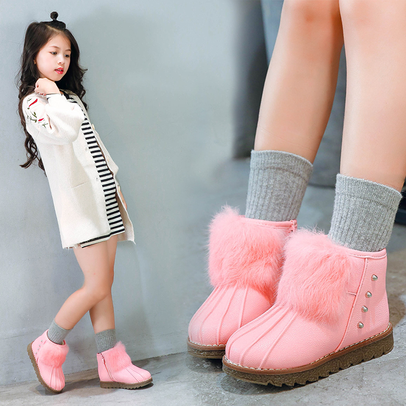 Girls Snow Boots 2019 New Children's Boots Baby girl winter Plus Velvet Thickening Girls Warm Cotton Shoes Size 22 36