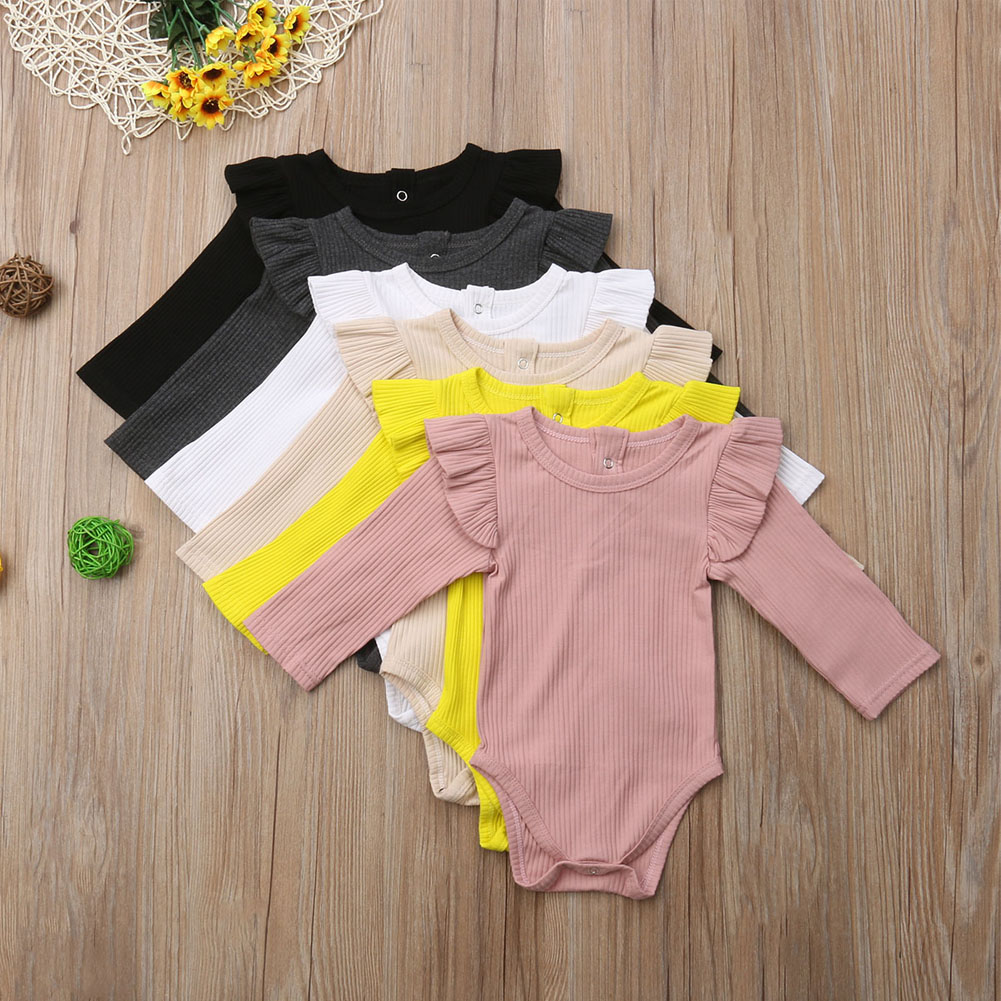 2020 Brand New Newborn Infant Kids Baby Girls Boys Autumn Causal Bodysuits Ruffles Long Sleeve Solid Warm Jumpsuits Outfit 0-24M 2