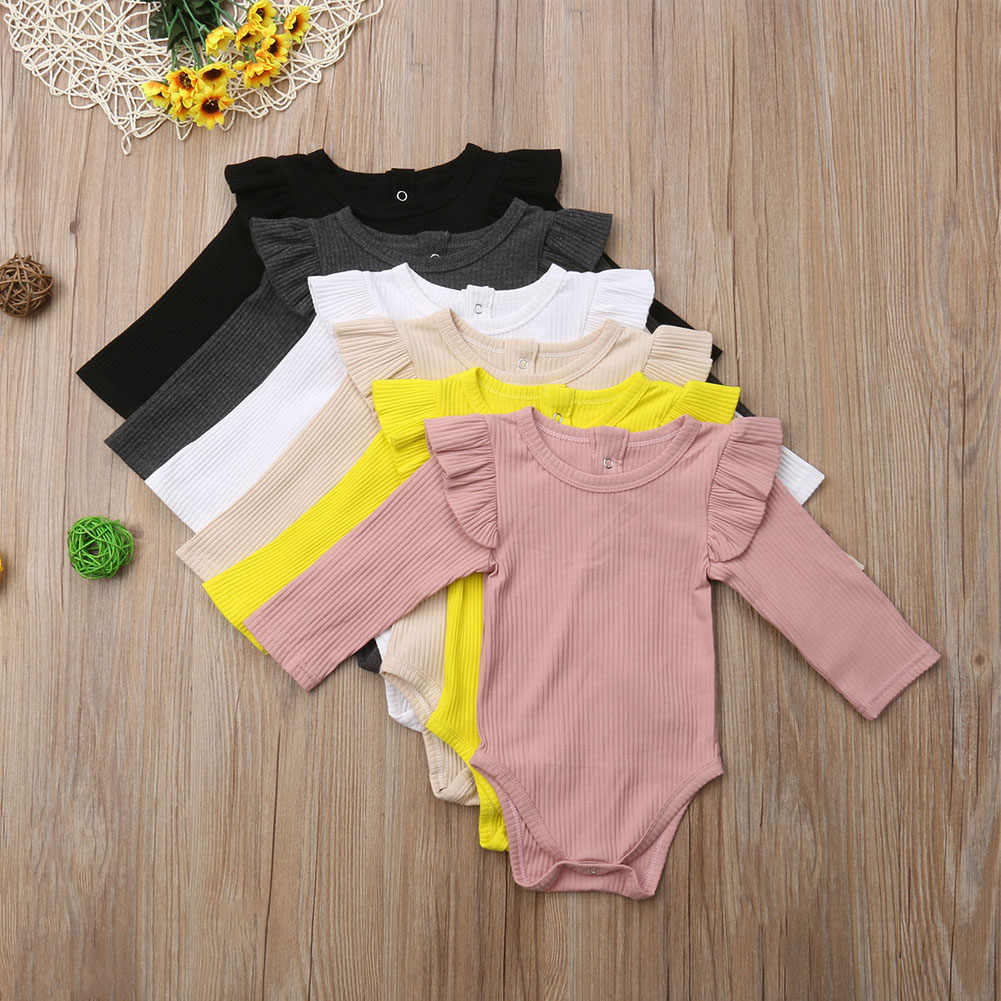 2018 Brand New Newborn Infant Kids Baby Girls Boys Autumn Causal Bodysuits Ruffles Long Sleeve Solid Warm Jumpsuits Outfit 0-24M