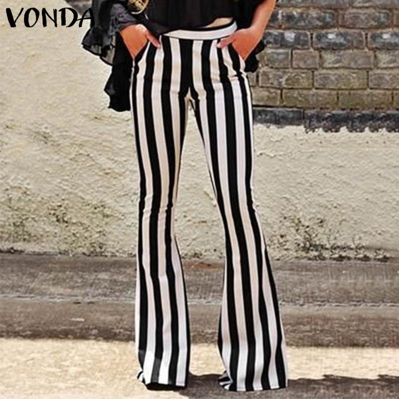 Summer VONDA 2019 Women Long Striped   Pants   Vintage Pantalones Mujer Flare Trousers Casual Streetwear   Wide     leg     pants   S-5XL