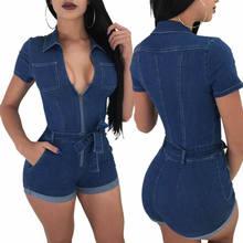 8b72d0d62a9 Sexy Women Blue Jeans Bodysuit One Piece Pants Denim Playsuits Turn Down  Collar Rompers Women Bandage Short Jumpsuit Overalls