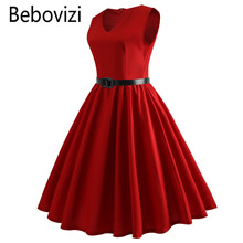 Bebovizi Fashion V-neck Summer Solid Color red black blue audrey hepburn Rockabilly midi dresses for women party dress