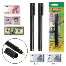 2 x детектор денег деньги проверки Валюты детектор поддельный маркер поддельные тестер банкнот ручка уникальные чернила ручные контрольные инструменты