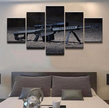 Canvas Painting Printed Poster Decoration Artwork 5 Panel Modern Pictures Sniper Rifle Wall Art Framework