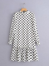 Fashion Spring Vintage Black/White Polka Dot Mini Dress Ladies Long Sleeve Ruffles Loose Dresses