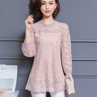 Womens Tops And Blouses 2019 Spring Autumn Fashion Women Long Sleeve Shirt Casual Loose Hollow Out Lace Blouse Plus Size 4XL