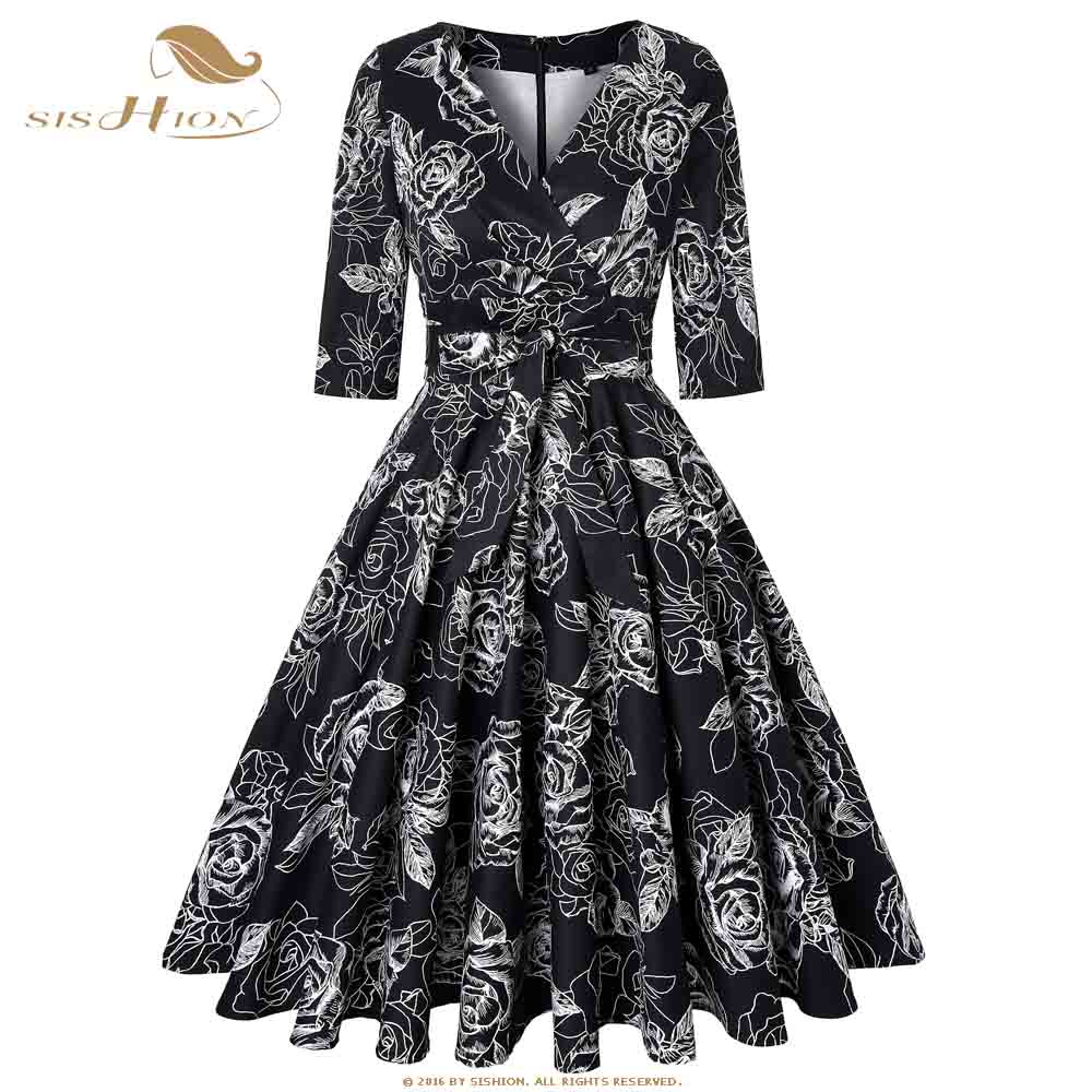 81284bd56723 SISHION Elegant Cotton Vintage Retro Dress Large Swing Women 3 4 Sleeve 3XL  4XL Plus