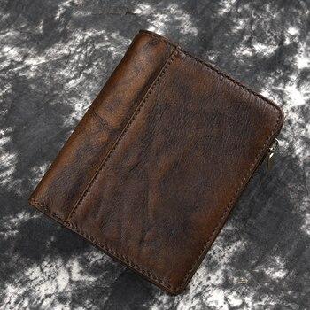 e06e3394e Piel Natural de alta calidad cartera plegable de cuero genuino para hombre  ID/tarjetero de diseño corto Vintage con múltiples bolsillos mini monedero
