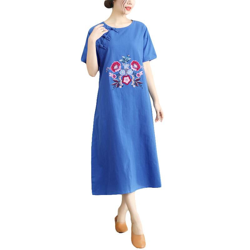 Spring Summer Women Elegant Floral Embroidery Dresses Short Sleeve O Neck Loose Dress Vintage Cotton Linen Party Vestido in Dresses from Women 39 s Clothing
