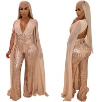 Women Cape Split Extra Long Sleeve Sequin Jumpsuit Elegant Deep V Neck Slim Romper Night Club Sexy Party Overall