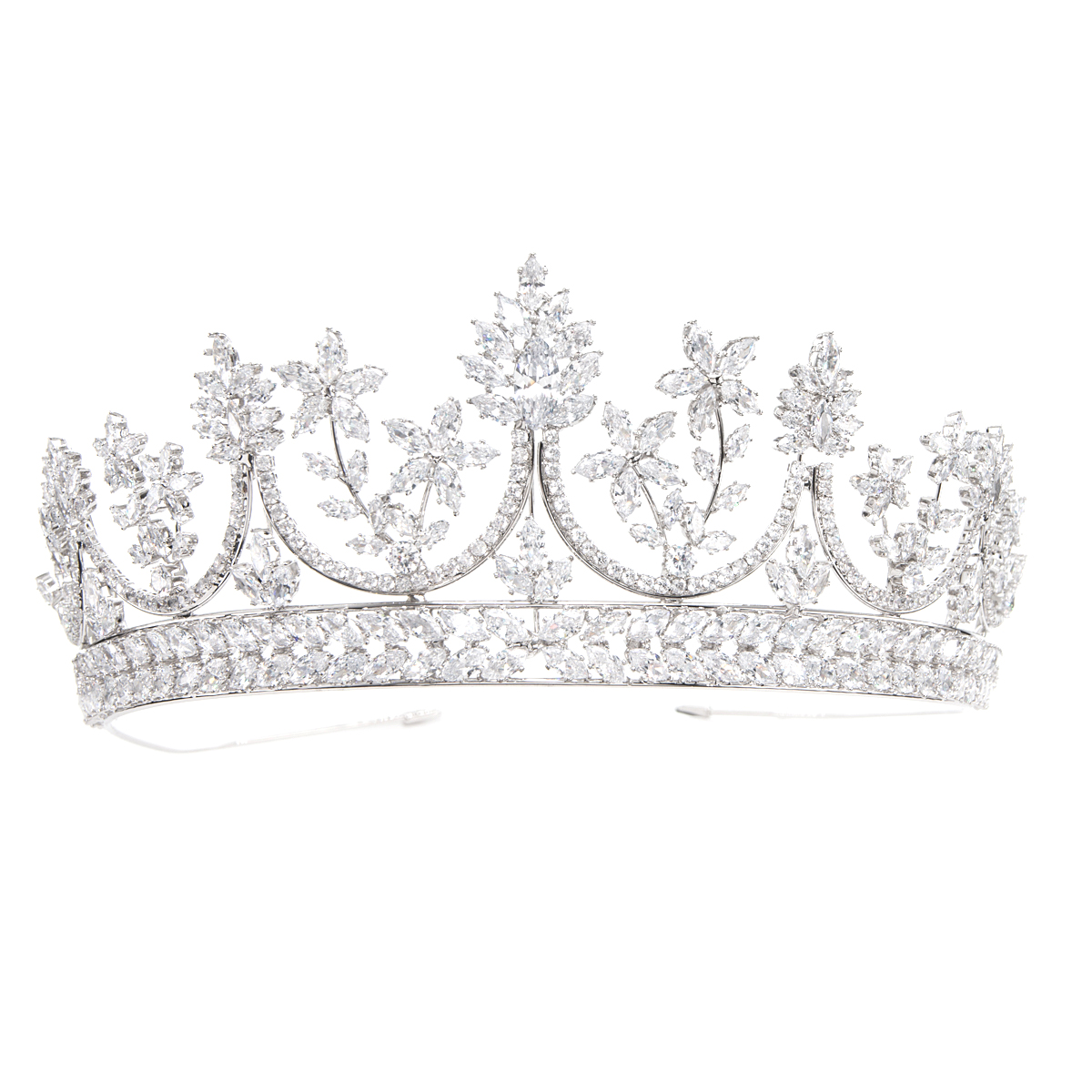 Fashional Crystals Cubic Zirconia Wedding Bridal Princess Royal Tiara Diadem Crown Women Prom Hair Jewelry Accessories