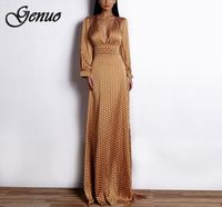 2019 Sexy Spring And Summer Deep V Small Dot split beach Elegant Floor Length Dress