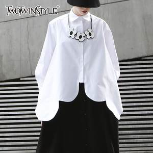 TWOTWINSTYLE Blouse Women Hem Tops Asymmetrical Streetwear Long-Sleeve White Irregular-Shirts