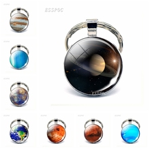 Eight Planets Glass Dome Keychain Sun Moon Cabochon  endant Key Rings Women Fashion Gifts
