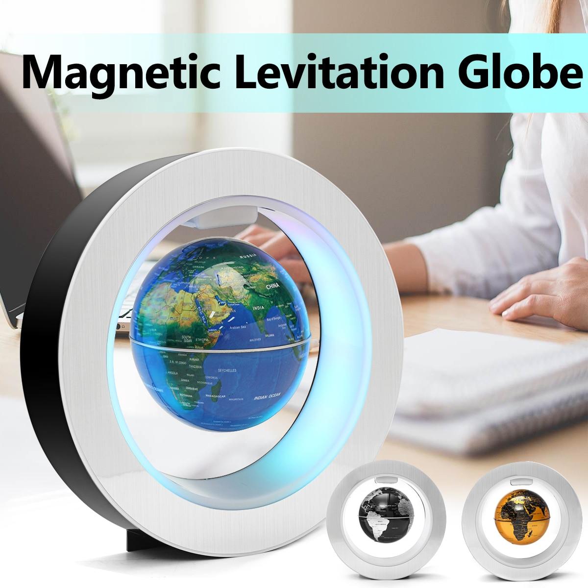 4 ''Lévitation magnétique Flottant Globe Terre Carte LED Lampe O Forme Tellurion Géographie Jouets Home Office Décoration Ornement