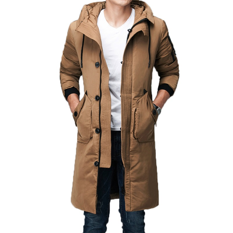 Mens Long   Down   Jacket Winter White Duck   Down   Parkas   Coat   with Hood Hat Warm Windproof Brand Clothing 2019 Male   Down     Coat   Outwear