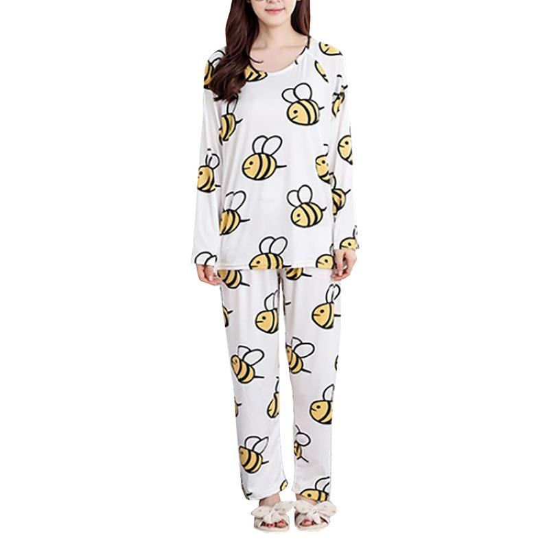Women   Pajamas     Set   Spring Autumn New Thin Cartoon Printed Long Sleeve Cute Sleepwear Suit Casual Homewear Female Pyjamas