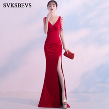 SVKSBEVS Sexy Deep V Neck 2018 Split Mermaid Long Dresses Elegant Party Beading Slim Sleeveless Backless Maxi Dress