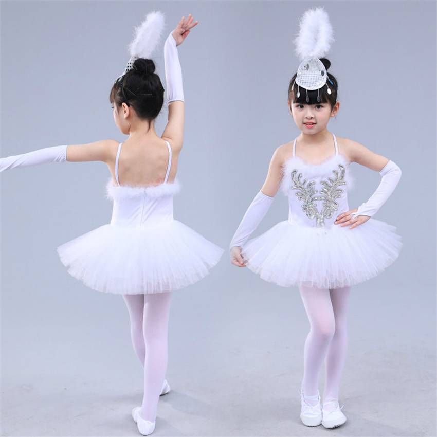 White Girls Ballet Dancing Tutu Dress Kids Princess Performance Tulle Strap Dresses Girl Dance Ballet Costumes with Headwear